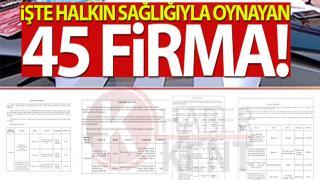 HALKIN SAĞLIĞIYLA OYNAYAN 45 FİRMA İFŞA EDİLDİ!